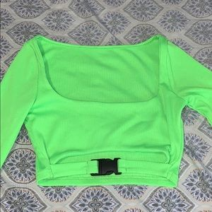 Neon Green Buckled Square Top Croptop